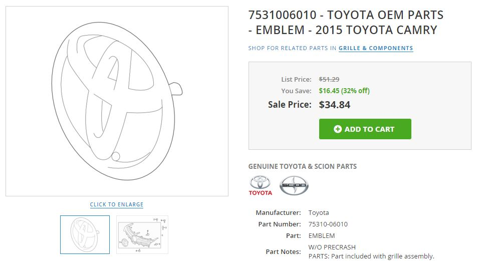toyota unequipped emblem 2015 camry