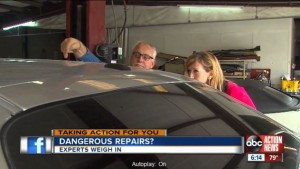 Three experts tied the damage to a Lakeland woman's Dodge Challenger to a GEICO DRP location's work on the car, WFTS reported. (Screenshot from WFTS footage)