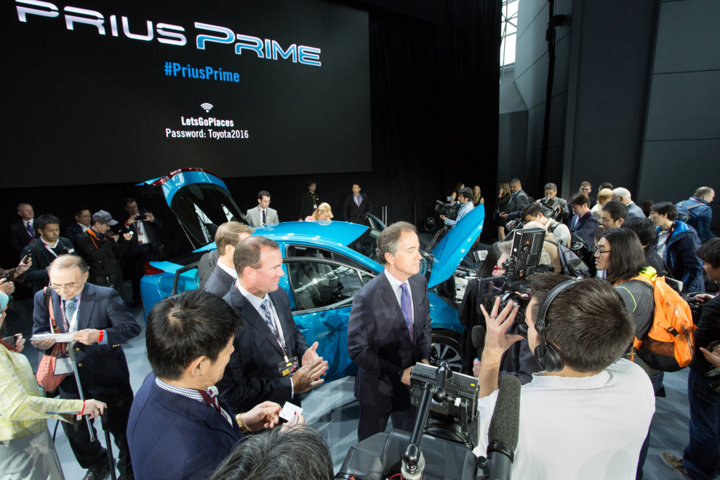 Toyota division group Vice President Bill Fay meets the media after unveiling the 2017 Prius Prime on March 23, 2016. (Provided by Toyota)