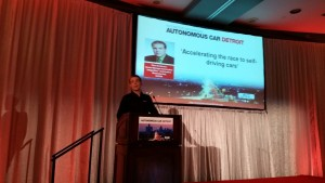 Dave Anderson of NVIDIA speaks March 16, 2016, during Automotive Megatrends USA. (John Huetter/Repairer Driven News)