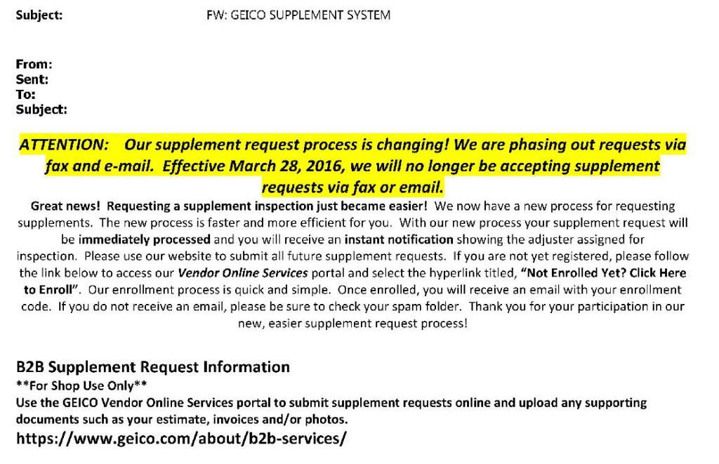 geico: shops can still fax, email supplements; portal mandate was