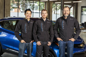 From left, Cruise Automation co-founders Daniel Kan  and Kyle Vogt pose with  General Motors President Dan Ammann. (Provided by General Motors/Copyright General Motors)