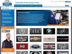 This screenshot shows the I-CAR Repairability Technical Support Portal OEM's links. (Screenshot from rts.i-car.com)