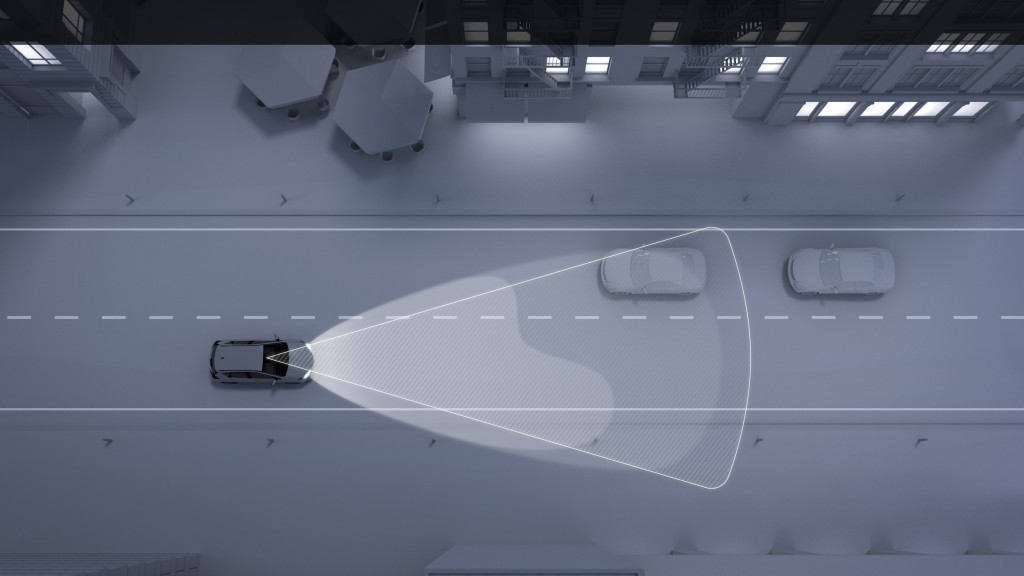 Toyota's automatic high beam technology is shown in this rendering. (Provided by Toyota)