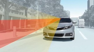 "The auto-braking system is shown in this still from Toyota video.  It depicts the lower-end ""Toyota Safety Sense C"" system to come standard to smaller Toyota models by 2018. (Provided by Toyota)"