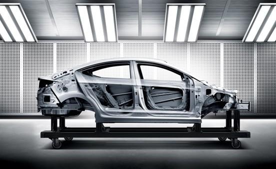 The body-in-white of a 2017 Hyundai Elantra. (Provided by Hyundai)