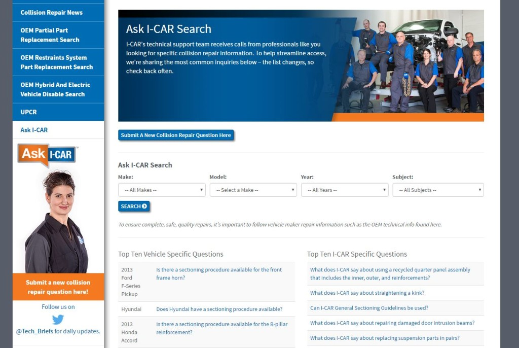 "The ""Ask I-CAR"" website is shown. (Screenshot from www.i-car.com)"