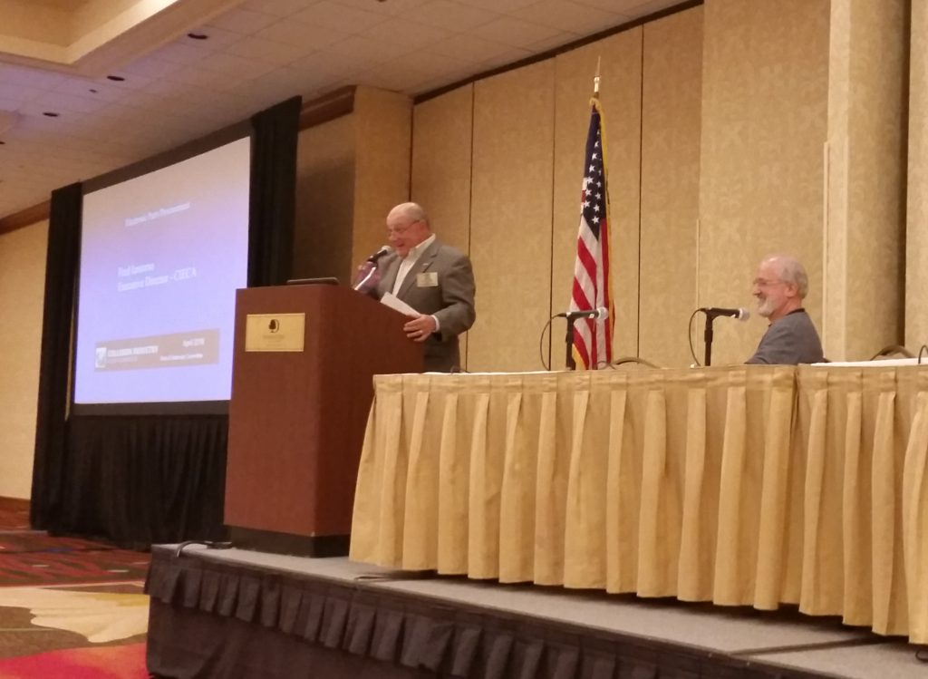 CIECA Executive Director Fred Iantorno, left, speaks April 21, 2016, at the Collision Industry Conference. (John Huetter/Repairer Driven News)