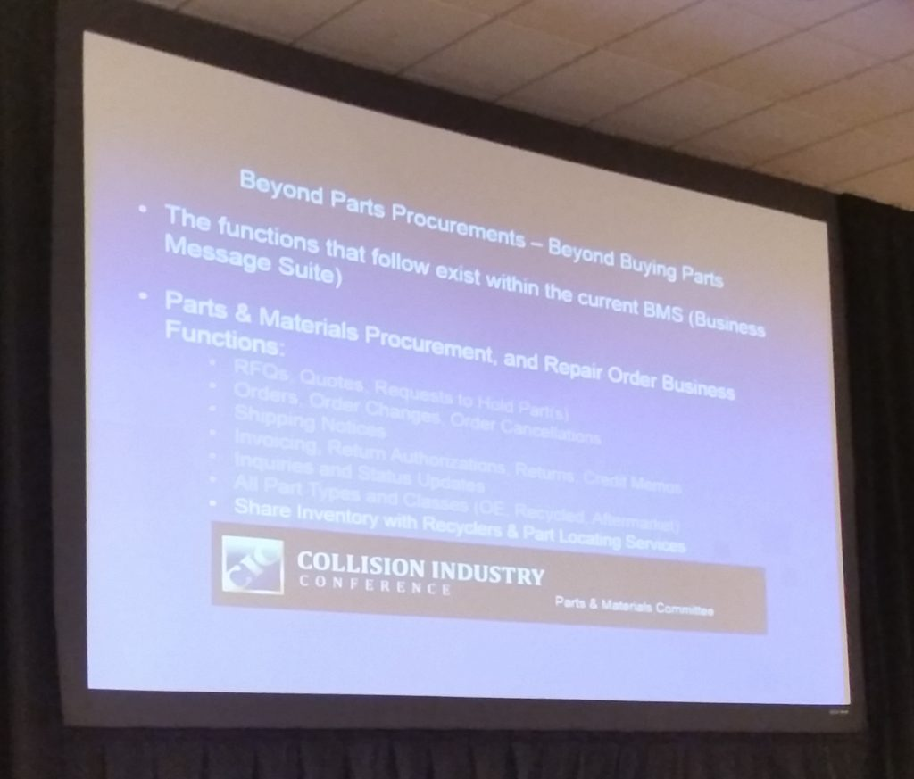 CIECA Executive Director Fred Iantorno on April 21, 2016, at the Collision Industry Conference urged the collision repair industry to demand access to BMS and greater functionality from industry-related software. (CIC slide via John Huetter/Repairer Driven News)