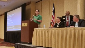 Collision Repair Education Foundation development director Brandon Eckenrode speaks April 21, 2016, at the Collision Industry Conference. (John Huetter/Repairer Driven News)