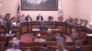 A joint California Senate committee met April 27, 2016, to discuss regulatory power with Democratic Insurance Commissioner Dave Jones. (Screenshot from California Senate video)