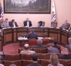 A joint California Senate committee met April 27, 2016, to discuss regulatory power with Democratic Insurance Commissioner Dave Jones. (Screenshot from California Senate video)