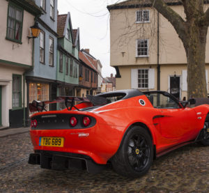 "A Lotus Elise Cup 250 with a ""carbon pack"" of features like the spoiler is shown. (Provided by Lotus)"