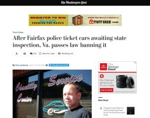After prior Post coverage of cars being ticketed while awaiting inspections, the Legislature bipartisanly and unanimously put the smackdown on the practice with House Bill 213, according to the newspaper, which reported Democratic Gov. Terry McAuliffe has signed it. (Screenshot from www.washingtonpost.com)