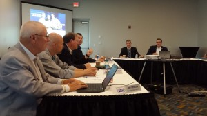 Emeritus Society of Collision Repair Specialists leadership participate in a July 2015 open board meeting. (John Huetter/Repairer Driven News)