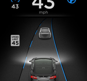 Telsa's Autopilot is demonstrated in this screenshot. (Provided by Tesla.)