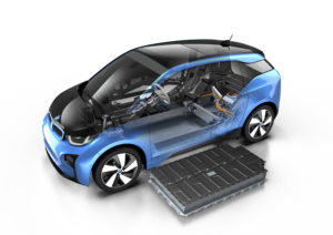 The 2017 BMW i3 with a 94 Ah battery is shown in this rendering. (Provided by BMW)