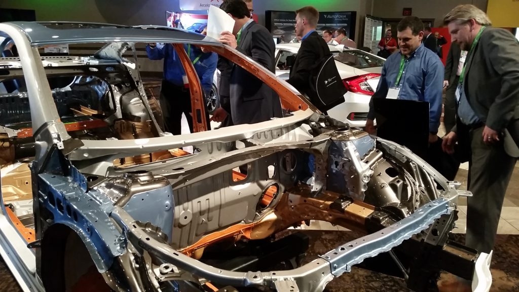 Various steel grades of the 2017 Buick LaCrosse are indicated on this color-coded body-in-white at the 2016 Great Designs in Steel. (John Huetter/Repairer Driven News)