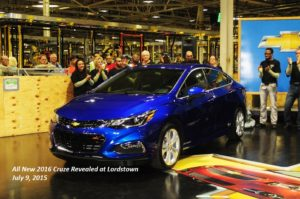 The 2016 Chevrolet Cruze, which cuts weight using higher-strength steels, is revealed July 9, 2015, at the Lordstown, Ohio, plant that makes Cruzes. (Provided by General Motors/© General Motors)