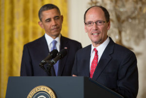 Then-Justice Department Civil Rights Division leader Thomas Perez speaks March 18, 2013, after being announced as Democratic President Barack Obama's nominee for secretary of labor. (Pete Souza/Official White House Photo)