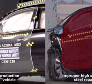 Honda's wrecked pair of 2014 Acura MDXs -- one from the factory floor, one mimicking a botched collision repair -- continue to get mileage as a tool for showing the importance of proper auto body work. This time, they're in a customer-facing video. (Screenshot from Honda video)