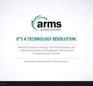 "The ARMS Business Solutions ""coming soon"" home screen. (Screenshot of www.armsbusinesssolutions.com)"