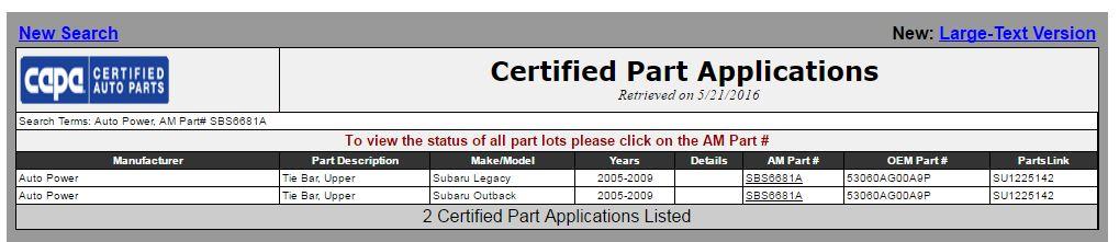 capa parts certified 20160521