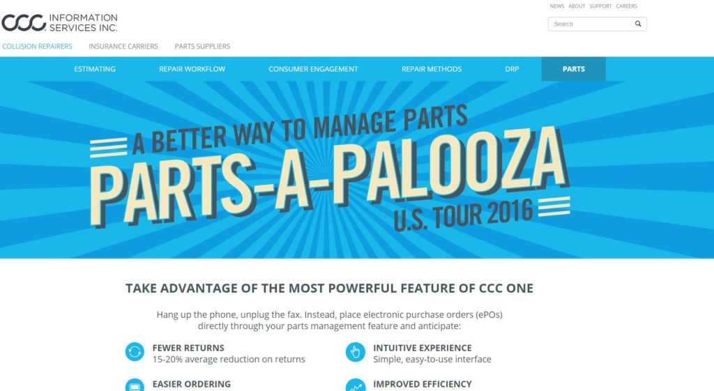 "CCC hypes its TRUE Parts Network in this screen promoting its ""Parts-A-Palooza U.S. Tour 2016."" (Screenshot from www.cccis.com)"
