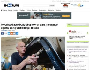 """A Pulitzer-winning Fargo, N.D., newspaper, the Forum of Fargo-Moorhead, has given some ink to the issue of """"steering,"""" in which insurers cross the line in recommending their own collision repairer networks. (Screenshot from www.InForum.com)"""