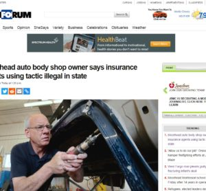 "A Pulitzer-winning Fargo, N.D., newspaper, the Forum of Fargo-Moorhead, has given some ink to the issue of ""steering,"" in which insurers cross the line in recommending their own collision repairer networks. (Screenshot from www.InForum.com)"