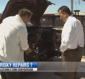 Phoenix TV station KTVK has provided the latest coverage describing insurer practices like direct repair program shops and non-OEM parts and also highlighting what shop errors might be concealed by a nice vehicle appearance. (Screenshot of KTVK video on www.azfamily.com)