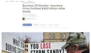 "A PBS Frontline and NPR ""Business of Disaster"" series making waves this week alleges insurance companies underpaid Superstorm Sandy claims they were handling on behalf of the feds. Here's a screenshot from one of NPR's stories. (Screenshot of www.npr.org)"