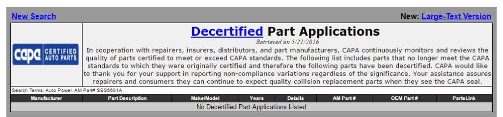 real decertified parts capa 20160521