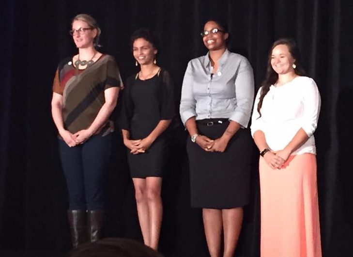 Four of the five 2016 Women's Industry Network scholarship recipients -- from left, Krystyna Zak, North Idaho College; Chelsea Bonds, Lake Technical College; Jasmine Storey, Universal Technical Institute; and Tristen Berlin, North Arkansas Community College -- attend the 2016 WIN Conference. (Provided by WIN)