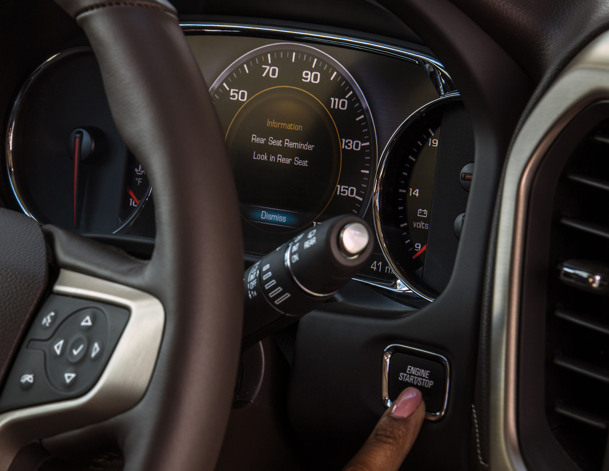 The rear seat alert system -- standard on the 2017 GMC Acadia and coming to more General Motors models -- is actually tied to the crossover's rear doors and engine, not the seat, GM said Monday. (Provided by General Motors/© General Motors)