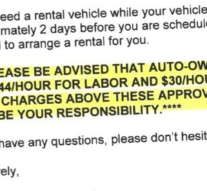 The Charlotte, N.C., Claims Branch of Auto-Owners Insurance notified a claimant of what rates it'd pay auto body shops in this letter provided by a tipster. However, the insurer said that's not company policy and must have been sent in error. (Provided to Repairer Driven News)