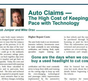 A spring issue of a Demotech magazine geared at the insurance industry, the Demotech Difference, features two collision industry leaders who warn of the dangers and potential infeasibility of cost-cutting on modern vehicle claims. (Provided by the Demotech Difference)