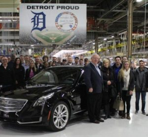 David Flynn, seen Feb. 19, 2016, paid $200,000 at a charity auction for the first Cadillac CT6, which was made at the Detroit-Hamtramck Assembly plant four days before. (Provided by General Motors/Copyright General Motors)