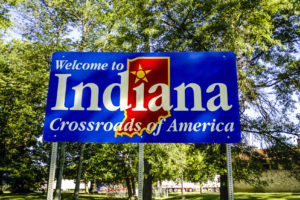 An Indiana welcome sign is shown July 5, 2006.  (csfotoimage/iStock)
