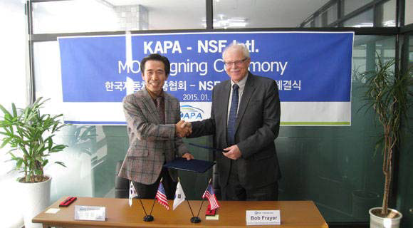 NSF and the Korea Automobile Parts Association hold a signing ceremony to commemorate NSF parts' approval as up to KAPA standards. (Provided by NSF)