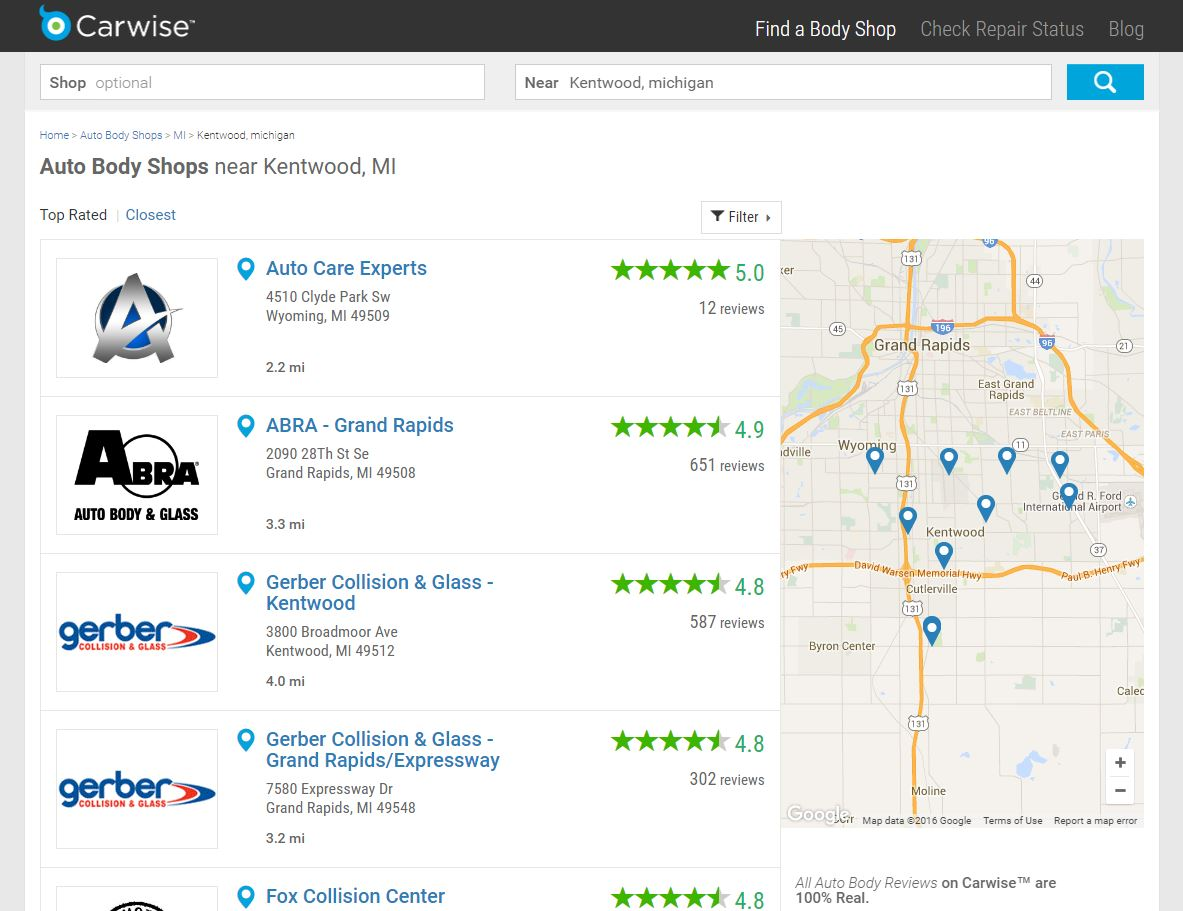 A map of shops near Repairer Driven News' office is shown on Carwise. (Screenshot from www.carwise.com)