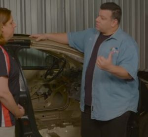P&L Consultants' Larry Montanez and Collision Hub's Kristen Felder discuss Montanez's post-repair inspection on a 2013 Volkswagen Golf. It was unclear if this reinspection was among those discussed by Felder in a June 2016 Guild 21 presentation. (Screenshot from Collision Hub video on YouTube)
