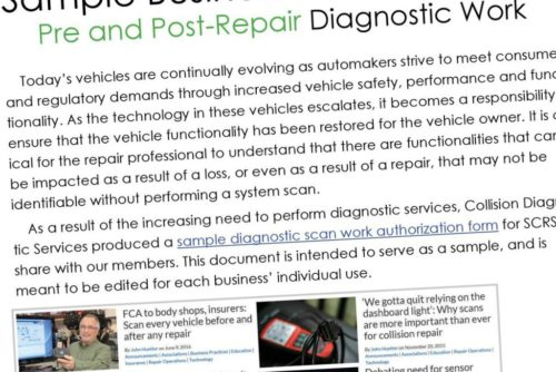 You're in luck. Collision Diagnostic Services has for a while provided a handy sample authorization form, and a copy can now be found in the June Society of Collision Repair Specialists newsletter released Wednesday. (Provided by SCRS)