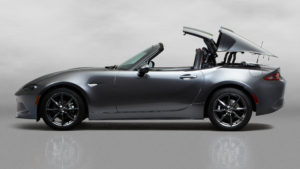 The cool retractable hardtop fastback on the 2017 Mazda MX-5 Miata RF is composite, steel and aluminum. (Provided by Mazda)