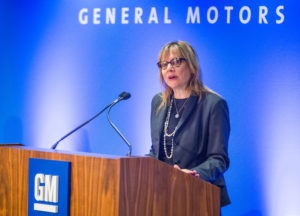 General Motors CEO Mary Barra leads the 2016 shareholders' meeting June 7, 2016. (Jeffrey Sauger for General Motors/Copyright GM)