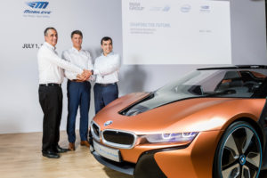 From left, Intel CEO Brian Krzanich, BMW Chairman Harald Krüger and Mobileye Chief Technical Officer Amnon Shashua are pictured July 1, 2016 with the iVision. (Provided by BMW)