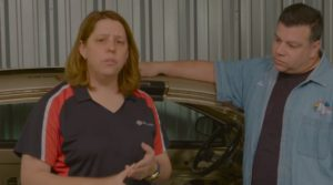 Collision Hub's Kristen Felder, left, and P&L Consultants' Larry Montanez discussed Montanez's post-repair inspection on a 2013 Volkswagen Golf in two videos this spring. It was unclear if this reinspection was among those discussed by Felder in a June 2016 Guild 21 presentation. (Screenshot from Collision Hub video on YouTube)