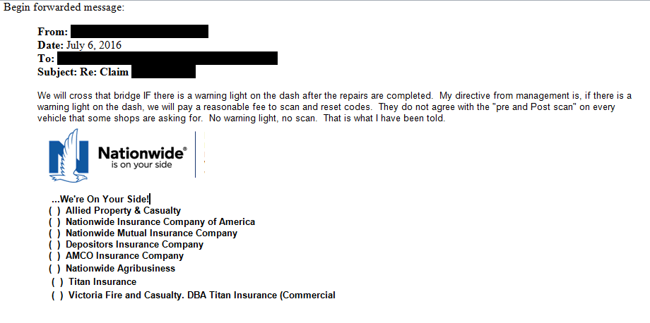 Nationwide on Friday confirmed that a local-level staffer's 'No warning light, no scan' position shown in this redacted email submitted by a tipster was not corporate policy.