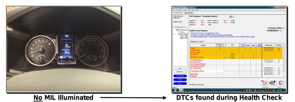 Toyota provided this example of diagnostic trouble codes not indicated by dashboard lights. (Provided by Toyota)