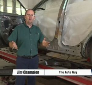 """Omaha, Neb., TV station WOWT's """"Auto Guy"""" Jim Champion discussed higher-strength steels in vehicles and collision repair in a new video. (Screenshot from WOWT video on www.wowt.com)"""